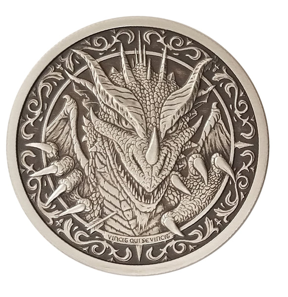 "THE DRAGON - 2 oz ""ANTIQUED"" .999 Fine Silver Round - The Destiny Series"