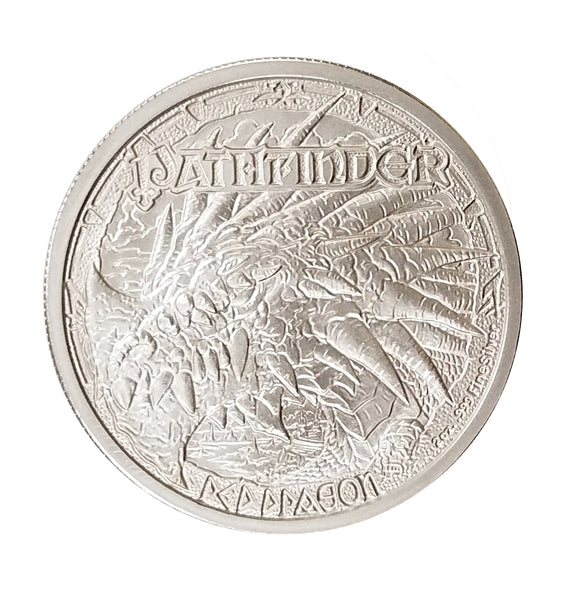 "Pathfinder Red Dragon / Valeros - 2 oz .999 ""Brilliant Uncirculated"" Fine Silver Round - The Destiny Series"