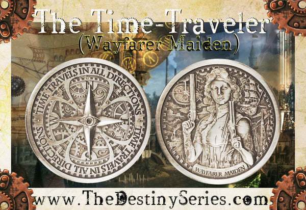 "Wayfarer Maiden - 2 oz ""Antique"" .999 Fine Silver Round - The Destiny Series"
