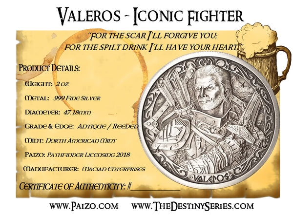 *COMBO* Pathfinder Red Dragon / Valeros Antique Round & Acrylic Display - The Destiny Series