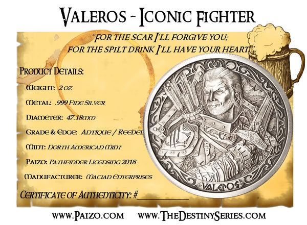 Pathfinder - Red Dragon / Valeros - 2 oz .999 Antique Fine Silver Round - The Destiny Series