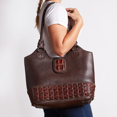 Crocodile Backstrap Bucket Handbag