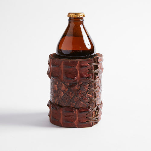 Crocodile and Barramundi Leather Combo Stubby Cooler