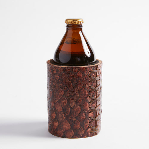 Barramundi Leather Stubby Cooler