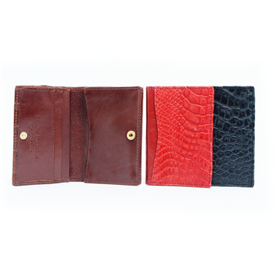 Half Crocodile Leather Business Card Wallet