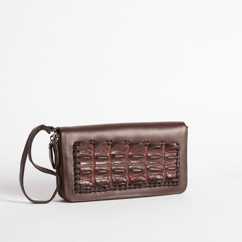 Caroline Double Zip Crocodile Hornback Clutch