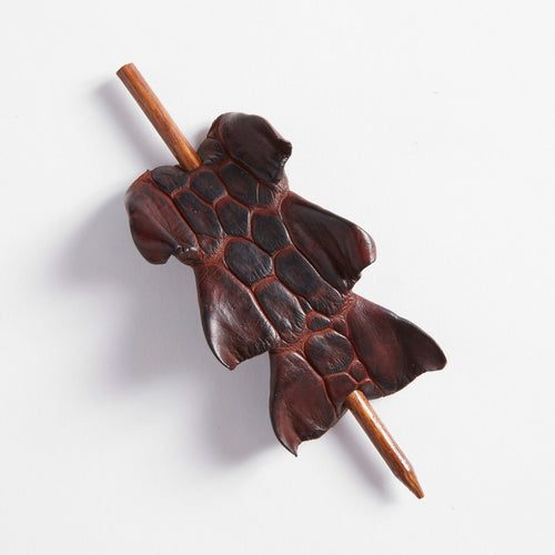 Crocodile Leather Hair Pin