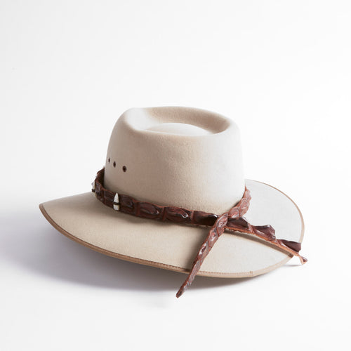 Crocodile Leather Hatband with Teeth