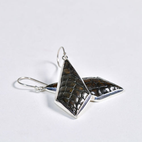 Crocodile Leather Silver Earrings