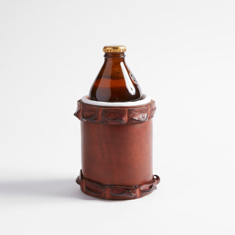 Croc Trimmed Leather Stubby Cooler