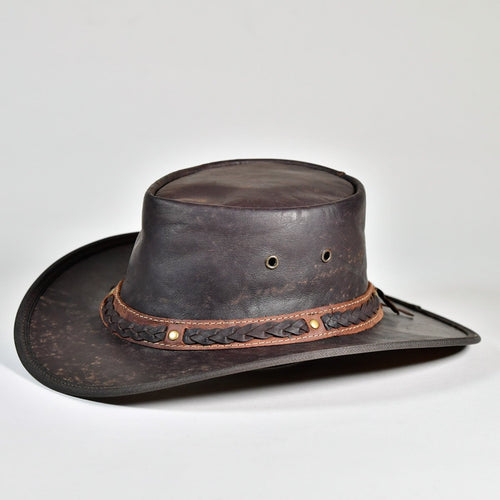 Kangaroo Leather Hat Dark Brown