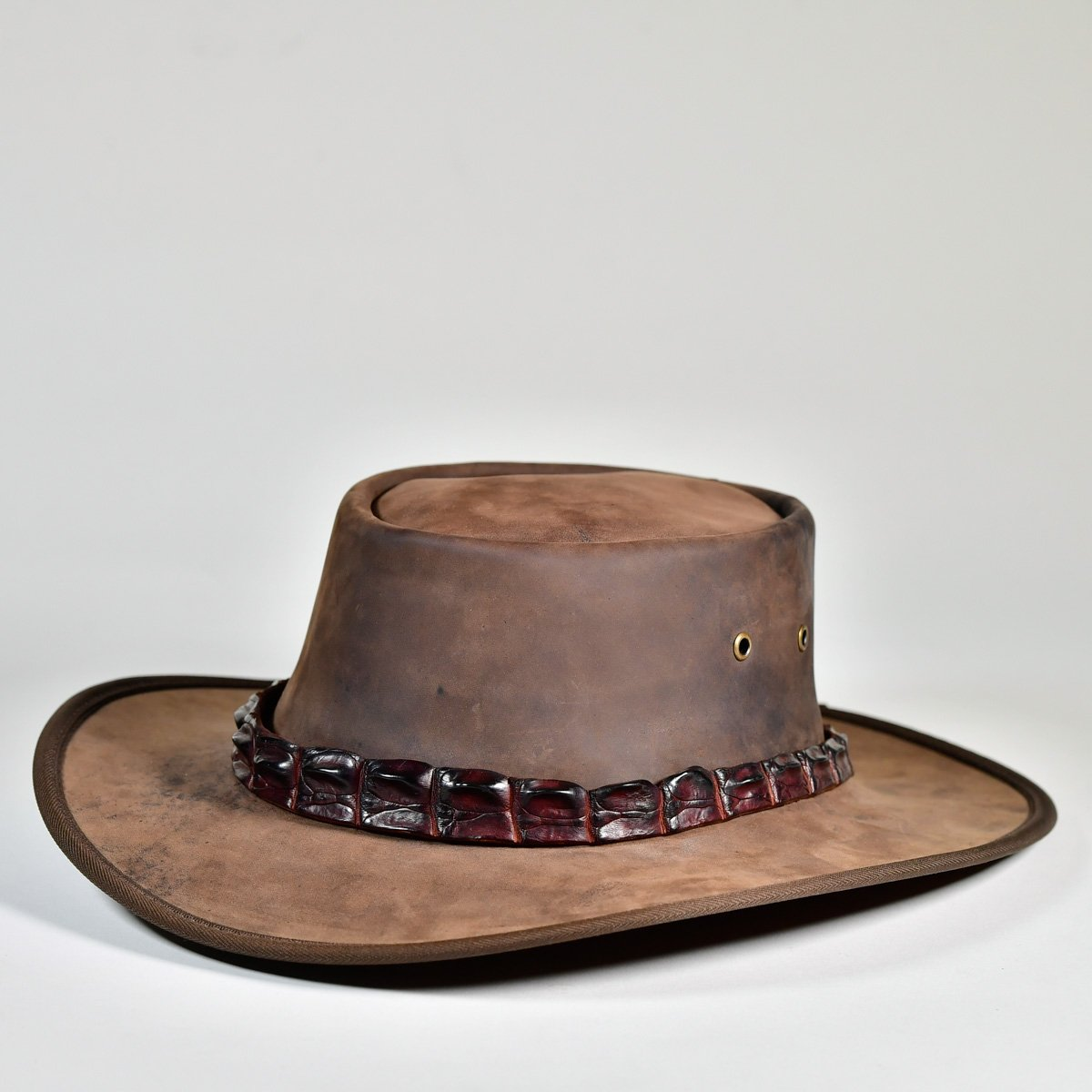 NT Outback Leather Hat with Crocodile Leather Hatband