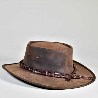 NT Outback Leather Hat w/ Crocodile Leather Hatband