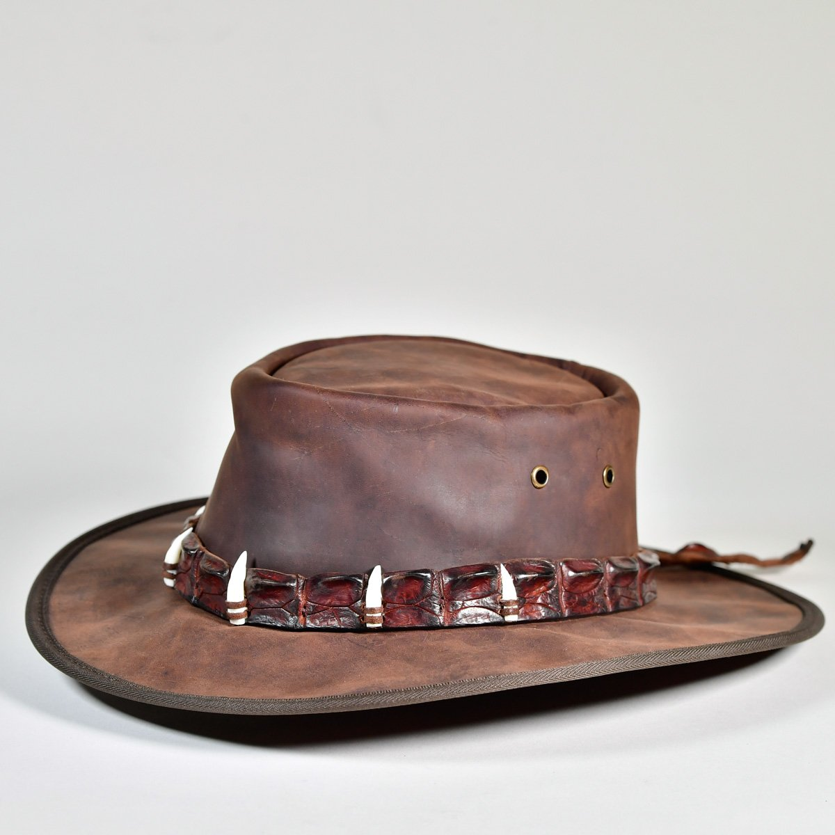 NT Outback Leather Hat with Crocodile Teeth Leather Hatband