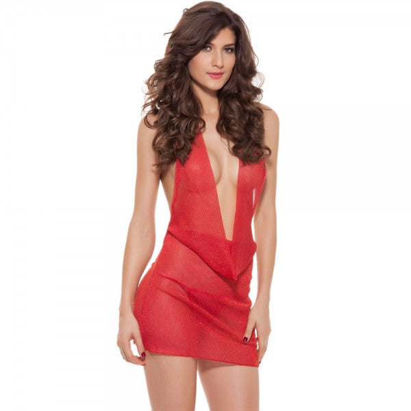 Deep V-Neck Backless See-through Halter Sexy Lingerie Dress Red