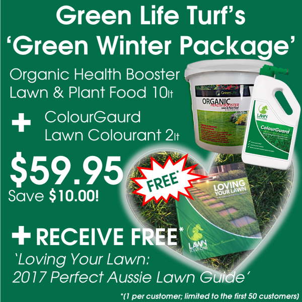 Green Life Turf Green Winter Package: Organic Fertiliser, ColourGuard Lawn Colourant, Aussie Lawn Guide