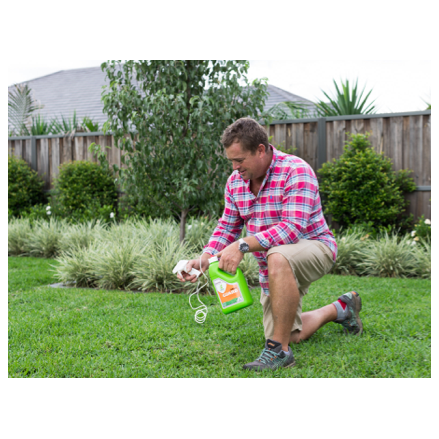 Jason Hodges applying Lawn Solutions Australia LSA Grub Guard 2lt Pest Control Buy Now