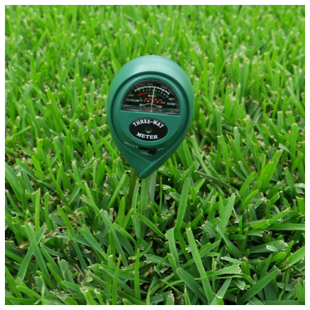 3-Way Soil Meter pH Moisture Light Tester in soil on Sir Walter DNA Certified Grass
