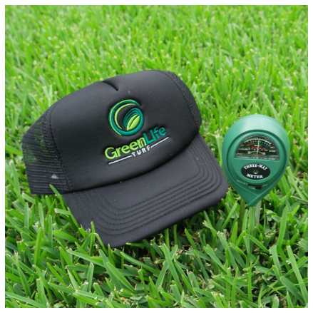 3-Way Soil Meter pH Moisture Light Tester in soil on Sir Walter DNA Certified Grass with cap for size