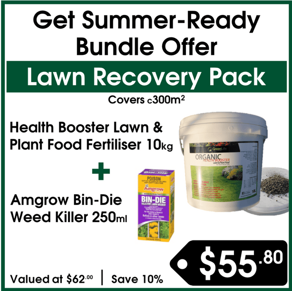 Lawn Recovery Pack - Green Life Turf Health Booster Lawn & Plant Food Fertiliser & Amgrow Bin-Die Killer - Buy Online