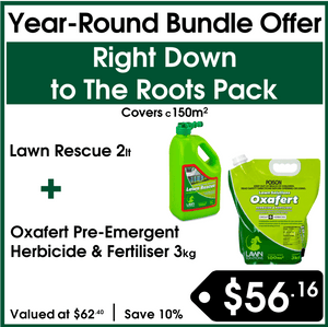 Down to The Roots Bundle - LSA Lawn Rescue 2lt & LSA Oxafert Pre-Emergent Herbicide & Fertiliser 3kg - Buy Online