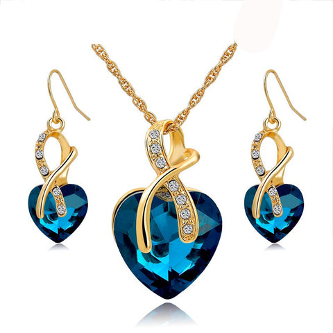 Crystal Heart Jewelry Sets