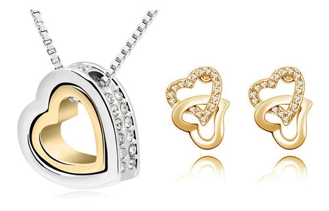 Floating Double Heart Jewelry Sets