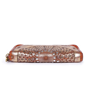 Golden Mola Leather Clutch