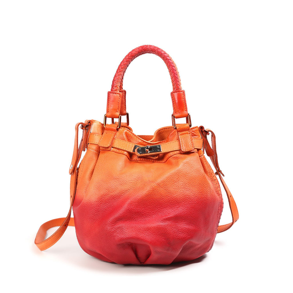 Pumpkin Leather Bucket Bag
