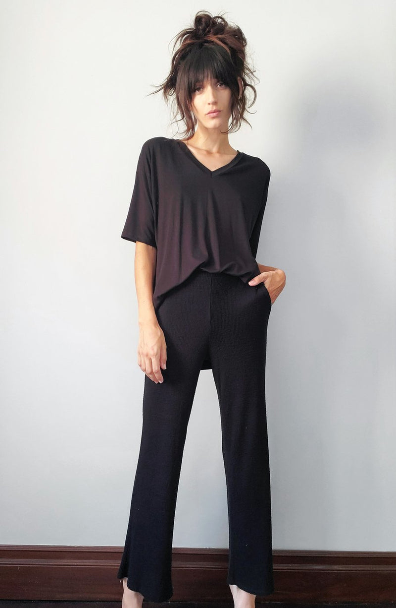 LBLC - ERIN WIDE LEG RIBBED COSY PANT - BLACK