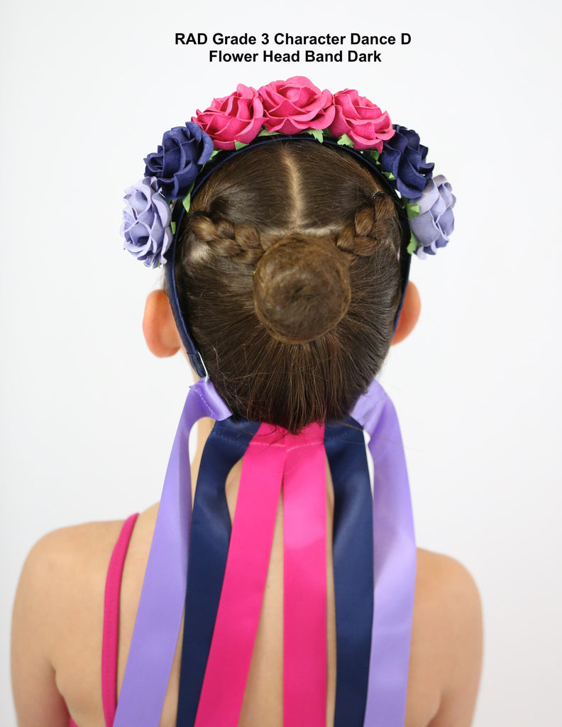 Grade 3 Flower Headband Dark Royal Academy Of Dance