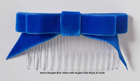 Angled Velvet Hair ribbons on Combs