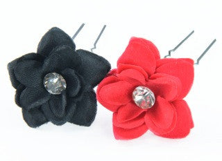 Fabric Flower Hairpins with Rhinestone