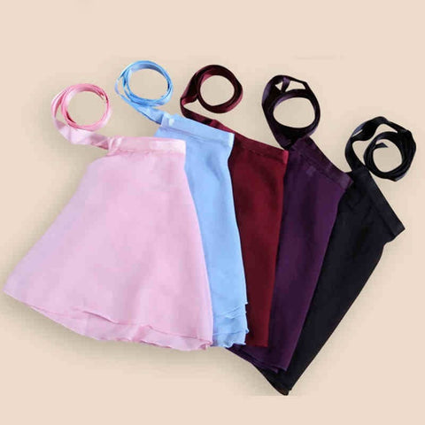 Girls polyester chiffon wraparound ballet skirt.