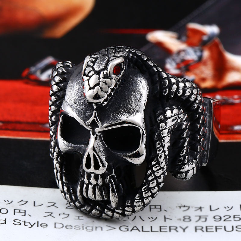stainless steel Vintage snake ring with red stone