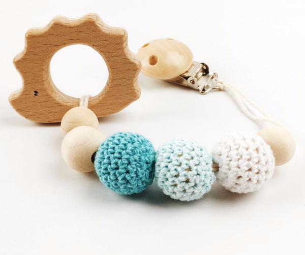 Baby Crochet Pacifier Clip With Wooden Animal Teether Ginger Foxx Co