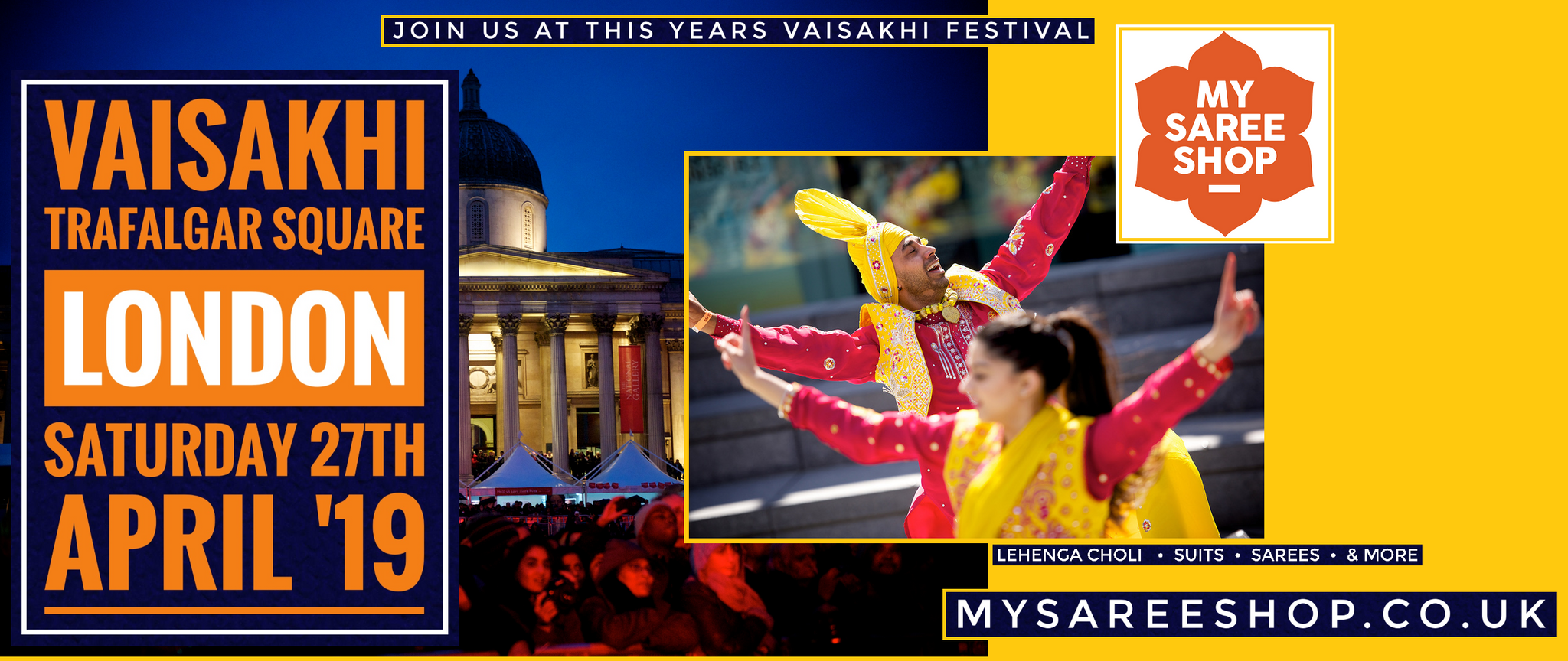 Celebrate Vaisakhi with MySareeShop.co.uk at London, Trafalgar Square (April 2019)