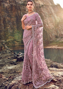 5489 - Net Embroidery Saree