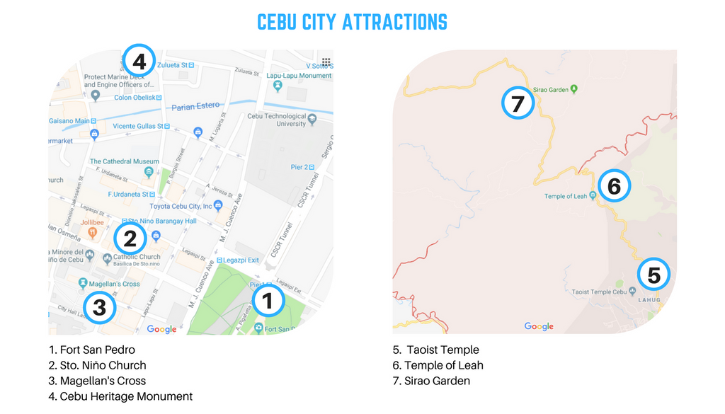 Map of Cebu tourist  spots and Attractions