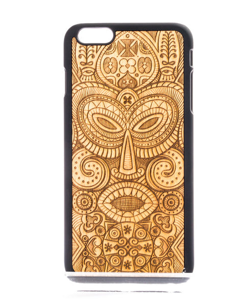 African Mask Design Wood Phone Case