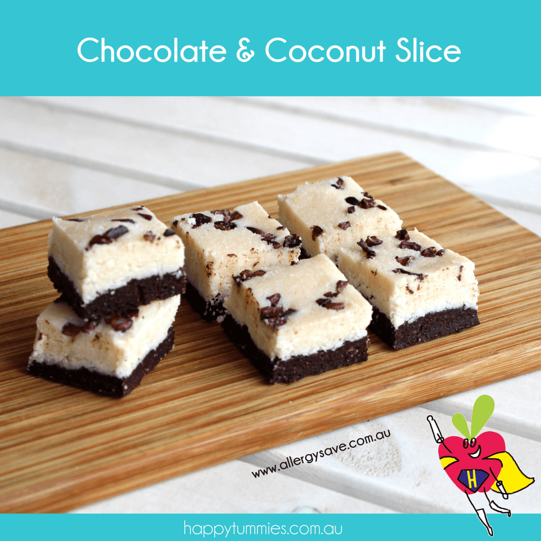Chocolate & Coconut Gluten Free Slice - Happy Tummies
