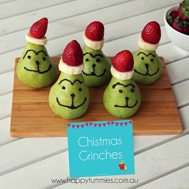 Healthy Christmas Food - Fruit Christmas Ginches - Happy Tummies