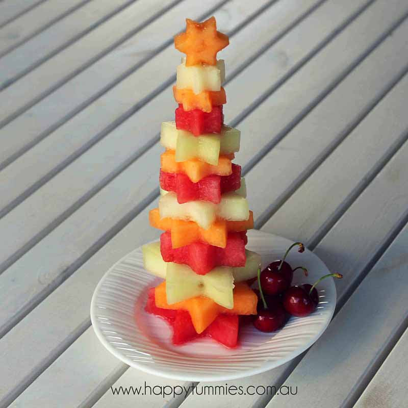 Healthy Christmas Food - Fruit Christmas Trees - Happy Tummies