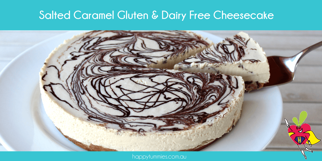 Salted Caramel Gluten Free & Dairy Free Cheescake - Happy Tummies