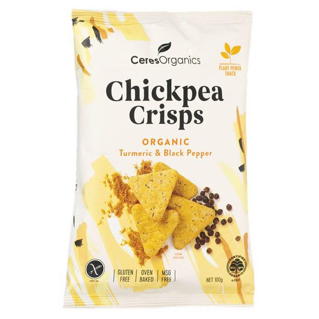 Ceres Organics Chickpea Crisps Turmeric & Black Pepper 100g - Happy Tummies