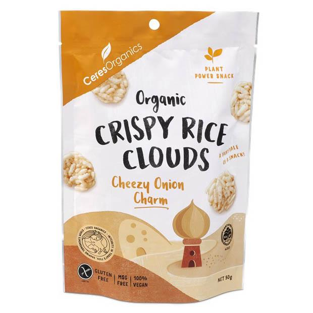 Ceres Organics Crispy Rice Clouds Cheezy Onion 50g - Happy Tummies