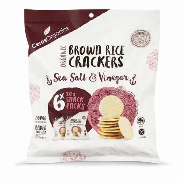 Ceres Organics Brown Rice Bites Sea Salt & Vinegar Multipack 120g - Happy Tummies