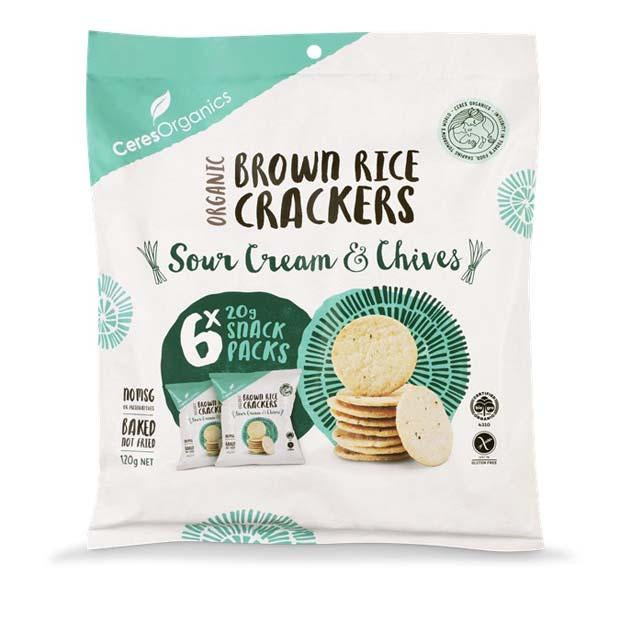 Ceres Organics Brown Rice Bites Sour Cream & Chives Multipack 120g - Happy Tummies