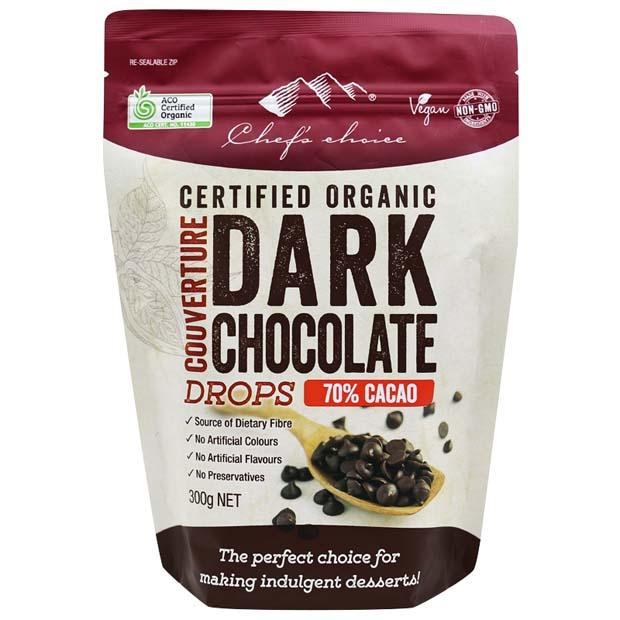 Chefs Choice Organic Dark Chocolate Drops 70% 300g - Happy Tummies