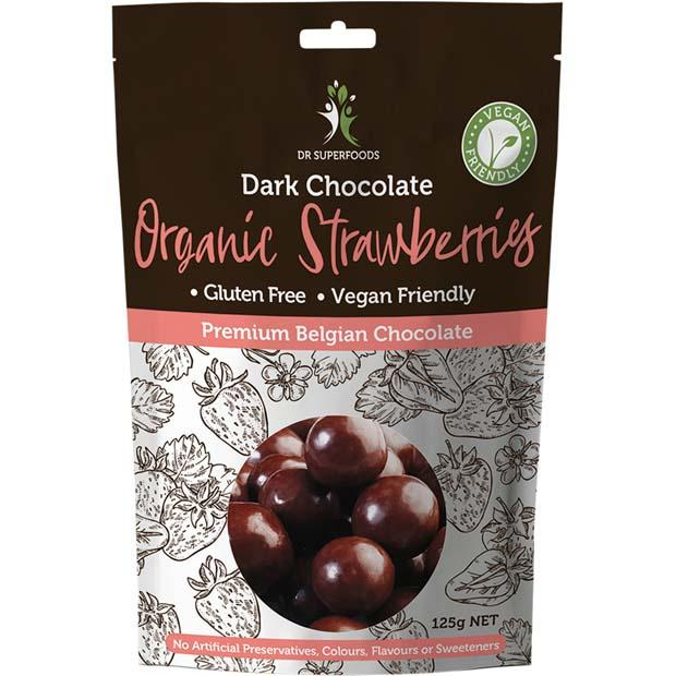 Dr Superfoods Dark Chocolate Organic Strawberries 125g - Happy Tummies